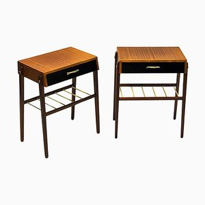 Teak and Brass Night and Side Tables, Sweden, 1960s, Set of 2