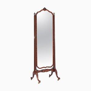Specchio Cheval antico edoardiano in mogano