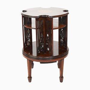 19th Century Sheraton Revival Inlaid Mahogany Revolving Bookcase