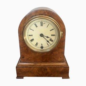 Horloge de Cheminée Victorienne Antique en Noyer