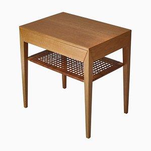Danish Oak Side Table with Shelf in Rattan Cane by Severin Hansen, 1950s