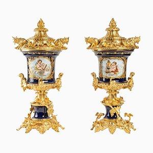 Vases en Porcelaine et Bronze Doré, Set de 2