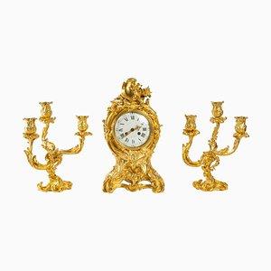 Kaminsims aus vergoldeter Bronze, 3er Set