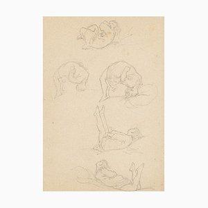 Unknown, The Gymnaste, Original Bleistift auf Papier, 1850er