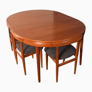 Teak Roundette Teak Dining Table and Chairs by Hans Olsen, 1960s, Set of 7
