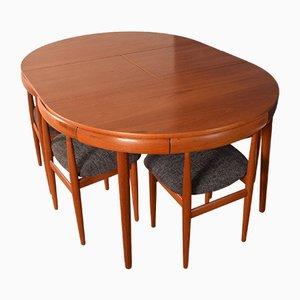 Teak Roundette Teak Esstisch und Stühle von Hans Olsen, 1960er, Set of 7