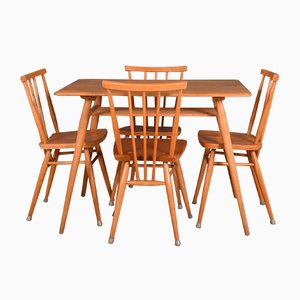 Vintage Ercol 393 Table & 4 391 Dining Chairs by Lucian Ercolani, Set of 5