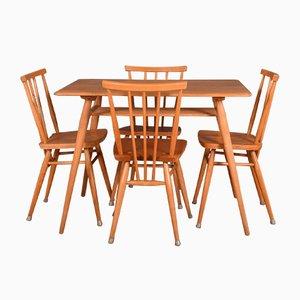Vintage Ercol 393 Tisch & 4 391 Esszimmerstühle von Lucian Ercolani, 5er Set