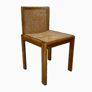 Wooden Caned Dining Chairs, 1960s, Set of 2