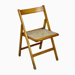 Vintage Italian Caned Beech Folding Chairs, 1960s, Set of 2