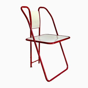 Italian Red & White Folding Chairs, 1980s, Set of 2