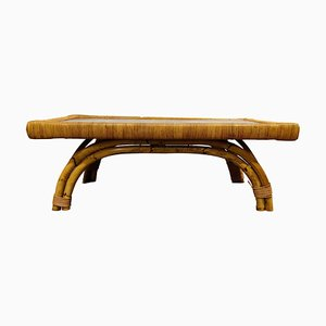 Table Basse Vintage en Bambou et Céramique, 1960s