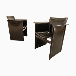 Leather Side Chairs by Tito Agnoli for Matteo Grassi, 1970s, Set of 2