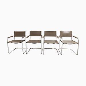 Freischwinger Esszimmerstühle von Marcel Breuer, 1980er, 4er Set