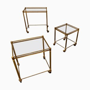 Gilt Metal Neoclassical Nesting Tables, 1950s, Set of 3