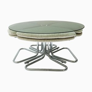Round Smoked Glass and Chrome Coffee Table with Four Nesting Stools, 1970s, Set of 5