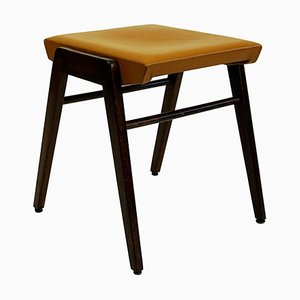Austrian Mid-Century Beech and Cognac Brown Leather Stool by Franz Schuster
