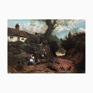 English School Rural Scene with Family & Cottage
