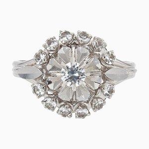 French White Sapphire 18 Karat White Gold Cluster Ring, 1960s