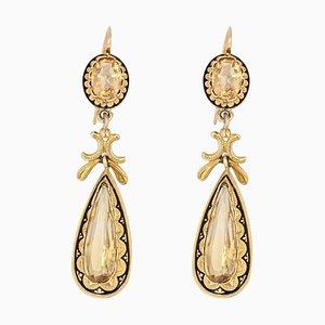 Französische 18 Karat Gelbgold Gold Citriblone Emaille Ohrringe aus 19. Jh., 2er Set