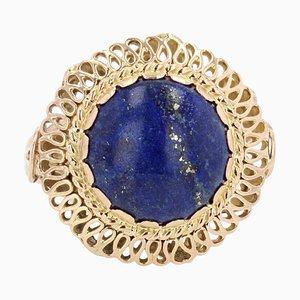 Bague 4,25 Carat Lapis Lazuli en Or Jaune 18 Carats, 1960s