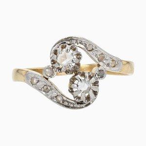 French Diamond 18 Karat Yellow Gold Platinum You and Me Ring, 1910s