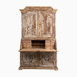 18th Century Swedish Baroque Pine Bureau Cabinet
