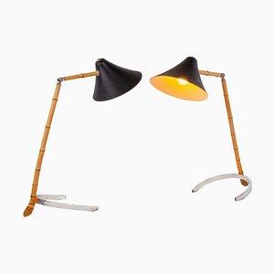 Lampes de Bureau Articulées en Bambou par Carl Auböck, 1950s, Set de 2