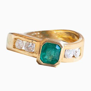 18k Gold Ring with Emerald and Diamonds, 1980s
