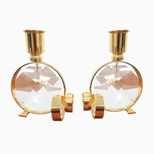 Crystal Glass Candleholders from Palwa, Set of 2