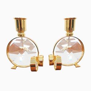 Kristallglas Kerzenhalter von Palwa, 2er Set