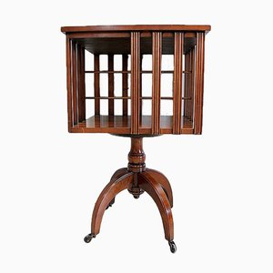 Small Rotating Cherry Wood Bookcase, 1940s