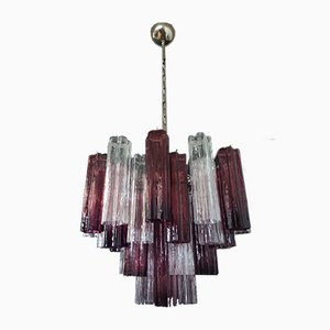 Murano Glass Tube Chandelier with 36 Transparent and Amethyst Glass Tube