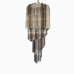Big Murano Chandelier with 54 Transparent and Smoked Quadriedri Prisms