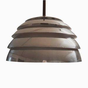 Lamingo T325 Ceiling Lamp in Aluminum and Teak by Hans-Agne Jakobsson for Markaryd, Sweden, 1950 Set of 2