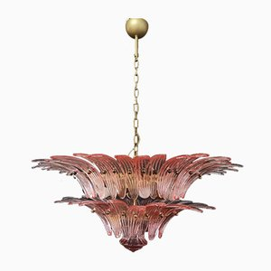 Murano Palmette Chandelier with Pink Glasses