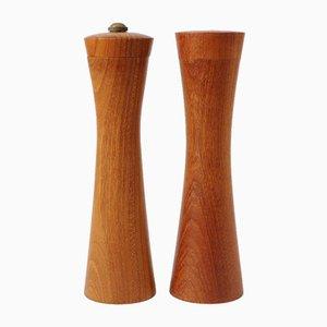 Teak Pepper Grinder and Salt Shaker from Holzmanufaktur Oberaichen, 1960s, Set of 2