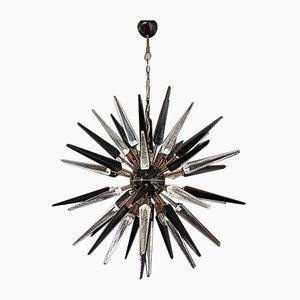 Lampadario Sputnik in vetro di Murano trasparente e nero con 51 bicchieri