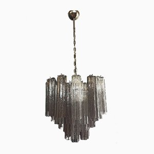 Murano Glass Tube Chandelier with 36 Smoked and Clear Glass Tubes