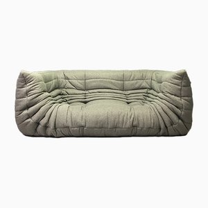 Gray Togo Sofa with Arms by Michel Ducaroy for Ligne Roset