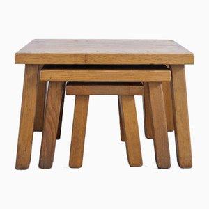 Triptych Oak Tables, 1970s, Set of 3