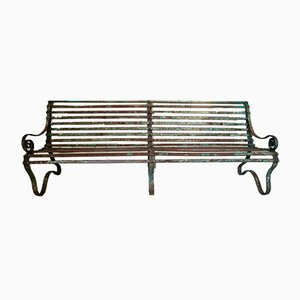 Antique Strap Iron Slatted Bench