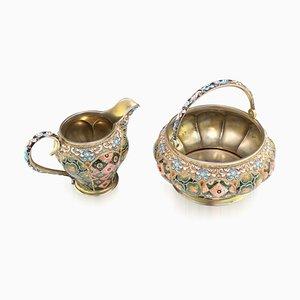 20th Century Russian Silver & Enamel Sugar Bowl & Cream Jug, 6th Artel, 1910s, Set of 2