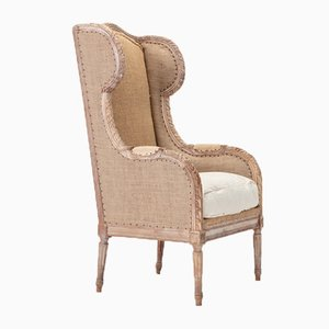 19th Century French Carved Wood Wing Chair