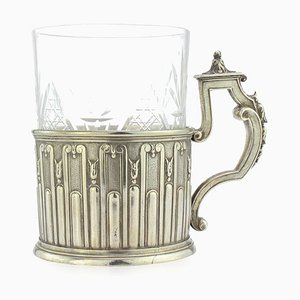 20th Century Russian Faberge Solid Silver Tea Glass Holder, Moscow, 1900s