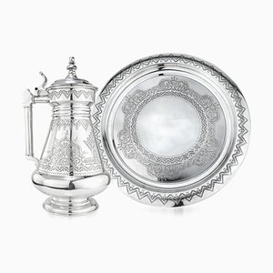 19th Century Russian Solid Silver Tankard on Tray, 1880, Set of 2