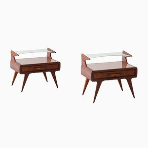 Italian Mahogany Bedside Tables with Glass Tops, 1950s, Set of 2