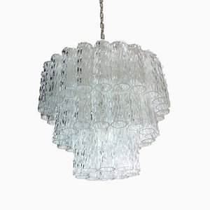 Large Murano Glass Tube 3-Tier Chandelier from Venini, 1980s