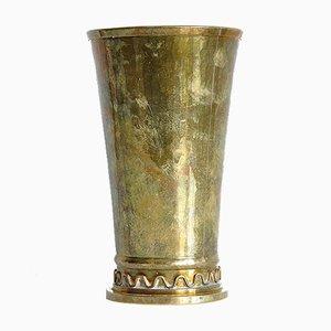 Messing Vase von Lars Holmström Arvika, 1950er