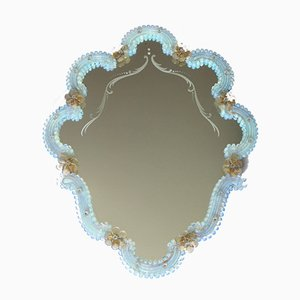 Large Vintage Opalescent Murano Glass Campanula Mirror, Italy, 1940s